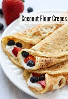 These Coconut Flour Crepes are gluten-free and paleo. Add your favorite fillings These Coconut Flour Crepes are gluten-free and paleo. Add your favorite fillings like whipped (coconut) cream and berries for a wholesome treat. Source by leelalicious Gluten Free Baking, Gluten Free Recipes, Low Carb Recipes, Cooking Recipes, Coconut Flour Recipes Low Carb, Tapioca Flour Recipes, Pasta Recipes, Paleo Flour, Chicken Recipes
