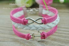 Infinity & Anchor Bracelet Pink Rope and White by HandmadeTribe, $2.99 Personalized fashion handmade bracelet,the best gift of friendship.