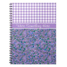 A pretty Spiral Notebook to customize, with a mix'n'match pattern of Check Gingham and Violets, one of the February Birth Month Flowers, from a watercolour painting by Judy Adamson. Part of the Posh & Painterly 'Sweet Violets' collection: up to $15.95 - http://www.zazzle.com/custom_spiral_notebook_violets_and_check_gingham-130018498066603033?rf=238041988035411422&tc=pintw