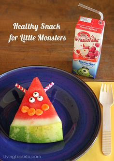 Healthy Snack Idea for Kids - Simple Monster Watermelon. Let kids decorate their own silly monsters!