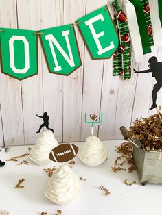 Your football game day celebration won't be complete until you add these football cupcake toppers from Declan & Smith Party Decor! Perfect for a game day celebration, football birthday party or football baby shower, these cupcake toppers are machine cut, hand crafted and made to order. #football #footballbirthdaydecorations #footballbabyshower Football Birthday, Sports Birthday, Boy Birthday Parties, Football Party Decorations, Birthday Party Decorations, Baby Shower Decorations, Football Cupcakes, Football Baby Shower, Wooden Food