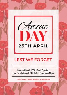 Create an event flyer or poster for Anzac Day or Australia Day without the need for a graphic designer. Check out the huge range of professionally pre-designed posters, flyers and social media graphics that you can update yourself, in minutes. Nova, Anzac Day, Australia Day, Social Media Graphics, Art Activities, Brisbane, Diy Design, Promotion, Easter
