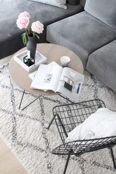 >>>Cheap Sale OFF! >>>Visit>> Cozy Living Room in Grey Tones by molgedecor Cozy Living Rooms, Home Living Room, Monochrome Interior, Interior Design, Wire Chair, Marble Tray, Scandi Home, Shops, Interior Plants