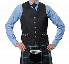 Usually worn as part of a Prince Charlie kilt outfit with a bow or ruche tie, this waistcoat is a perfect choice for weddings and other formal events. Buttons are what we put on our Jacket & Waistcoat, The design is small rampant lion with celtic motif. Wedding Vest, Wedding Attire, Kilt Jackets, Scottish Clothing, Black Waistcoat, Argyle Sweater Vest, Hippie Tops, Vest Coat, Business Dresses