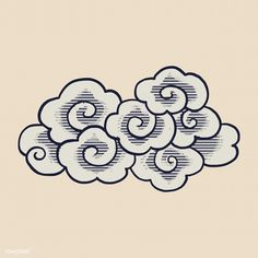 Chinese new year vector by rawpixel on Cloud Illustration, Free Vector Illustration, Free Illustrations, Cloud Drawing, Cloud Art, Et Tattoo, Tattoos, Chinese Icon, Cloud Tattoo Design