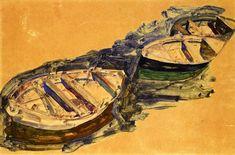 Egon Schiele (1890 — 1918) - Three Rowboats, 1912