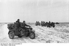 The Battle of STALINGRAD. Soviet soldiers trophy motorcycles (Zündapp KS 750). December 1942 Stalingrad.