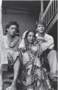 Om Puri, Shabama Azmi and Patrick Swayze (R.I.P Om Puri) Patrick Swayze behind the scenes City of Joy