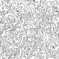 Heerlijk je #muur vol kladderen met alle kleuren van de regenboog: daar hebben wij als kind echt van gedroomd! De kunstenaar #Jon #Burgerman heeft nu een eigen website opgezet,waar hij zijn tekenkunsten verkoopt in de vorm van #posters, #kleurplaten en allerlei gifts. Zo ook zijn magnifiek bedachte #inkleurbehang, #wallpaper #behang #kleuren