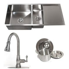 42 Inch Stainless Steel 15 mm Undermount Double Bowl Kitchen Sink with Drain Board Builders Combo 1