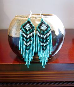 Native Seed bead Earrings- Turquoise and Black. $18.00, via Etsy.