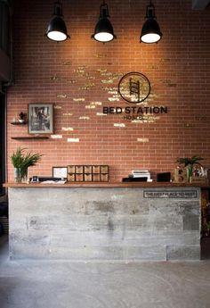 Best Garden Decorations Tips and Tricks You Need to Know - Modern Reception Desk Design, Reception Areas, Dance Studio Design, Cafe Interior Design, Brick Interior, Smooth Concrete, Red Brick Walls, Hotel Concept, Best Hotel Deals