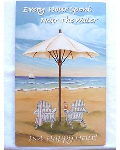 Every Hour Spent Near the Water Is a Happy Hour - Sign Features Beach Scene with…