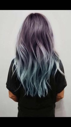 Balayage and Ombre are everyone's favorite. Add in the pastel hair colors. and you have delicate and beautiful hair mixes. Ombre Hair Color, Purple Hair, Blue Ombre, Turquoise Hair, Pastel Purple, Purple Dye, Teal Orange, Blue Grey, Pink Yellow