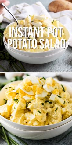 Instant Pot Potato Salad makes an easy side dish for potlucks picnics and barbecues. It's full of all the classic ingredients like potatoes eggs onions and a savory mayonnaise dressing only it's prepared in less time. Potluck Side Dishes, Potato Side Dishes, Side Dishes Easy, Side Dish Recipes, Deviled Egg Potato Salad, Potato Salad With Egg, Easy Potato Salad, Classic Potato Salad, Making Potato Salad