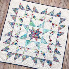 Blue Carolina Starburst Quilt - beginner quilt patterns