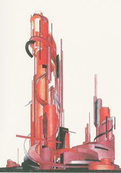 Iakov Chernikhov, from Architectural Fantasies Paper Architecture, Architecture Drawings, Concept Architecture, Interior Architecture, Constructivism Architecture, Russian Constructivism, Sad Paintings, Arte Lowbrow, Academic Art