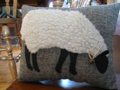 Primitive Wooly Grazing Sheep Pillow by Justplainfolk on Etsy, $22.00