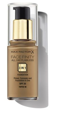 Max Factor's All Day Flawless Foundation in Tawny. Includes a primer to hold, concealer to correct and foundation to finish. Flawless Foundation, Foundation Primer, Max Factor, Concealer, Perfume Bottles, Day, Toffee, Beauty, Salt Water Taffy