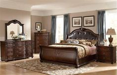 Hillcrest Manor Rich Cherry Wood Leather Master Bedroom Set
