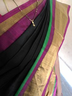 Uppada black with Green Color Silk Saree with Gold by UppadaPattu