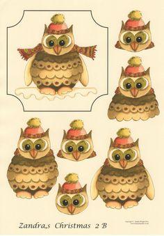 CHRISTMAS OWL A4 non die cut 3D decoupage House of Zandra 2B in Crafts, Cardmaking & Scrapbooking, Decoupage   eBay