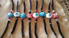 Jewellery by X                                                                                : Μακραμέ βραχιόλια με μάτια και χάντρες!!!!!