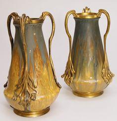 Art Nouveau ceramic vases with metal mounts by Orivit, Germany, 28cm high
