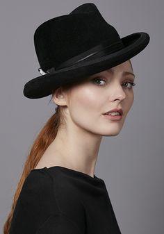 9578f56f406 Rachel Trevor Morgan Millinery R17W36 Black Homburg hat with diamante pin  Rachel Trevor Morgan