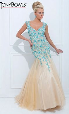 A beautiful illusion gown from Tony Bowls Evenings