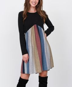 egs by éloges Black & Mustard Stripe Empire-Waist Midi Dress - Women & Plus Long Sleeve Midi Dress, Midi Skirt, Bold Stripes, Designer Dresses, Mustard, Empire, High Waisted Skirt, My Style, Skirts