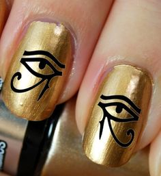 44 Eye of Horus / Ra Egyptian Nail Art (EYB) - Black Waterslide Transfer Decals - Not Stickers or Vinyl Egyptian Nails, Egyptian Makeup, Egyptian Party, Cleopatra Makeup, Egyptian Fashion, Nail Art Designs, Nail Polish Designs, Nail Decals, Nail Stickers