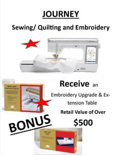 """Only a few days left in our """"JOURNEY with Bonus offer"""", come in and visit us at MASON Sewing today! Journey, Quilts, Sewing, Creative, Dressmaking, Couture, Quilt Sets, Stitching, The Journey"""