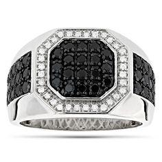 Luxurman 14k Gold Men's 1 4/5ct TDW and Black Diamond Pinky Ring