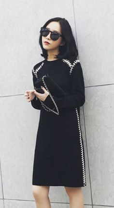 Fashiontroy Smart elegant long sleeves crew neck black lace-up two-tone wool blend mini dress