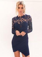 Women's Floral Lace Paneled Bodycon Dress
