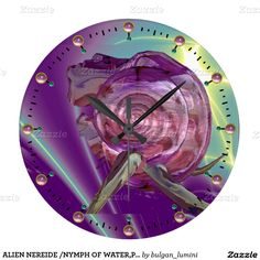 ALIEN NEREIDE /NYMPH OF WATER,PINK SEASHELL Sci-Fi Large Clock