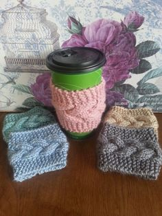 Coffee Cozy  Cup warmer  knitted coffee cozy  by GraphicsAndMore, $6.50