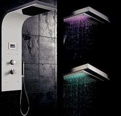 Loft & Bath® Noir > Douche Loft & Bath® > Colonne de douche multifonctions avec chromothérapie