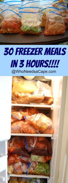 30 Freezer Meals in 3 Hours