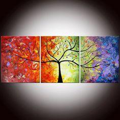 Original colorido grande abstracta moderna por FlowerArtPainting, $ 375.00: