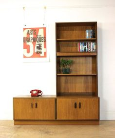Mid Century G Plan Sideboard | Teak Bookcase With Cupboards