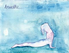 Upward Facing Dog Watercolor Yoga Painting