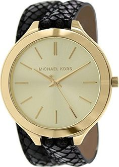 87f6f8a82835 Michael Kors Womens Runway MK2315 Black Leather Quartz Watch with Gold Dial      Want