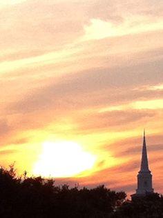 UMHB (University of Mary Hardin-Baylor) sunset, Belton Texas. Spire of Walton Chapel.