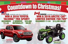 Win two 2016 Toyota Tacoma TRD Sport, or a 2016 Arctic Cat TRV 700 EPS Special Edition, in the Bass Pro Shops Countdown to Christmas 2015  Sweepstakes.      #Christmas, #Sweepstakes, #Win, #Truck, #Countdown, #BassPro