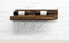 Compact wine rack for bottles and glasses