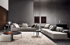 Furniture by Minotti Australia Cozy Family Rooms, Family Room Design, Cozy Living Rooms, Home Living Room, Interior Design Living Room, Living Room Designs, Living Spaces, Sofa Design, Furniture Design