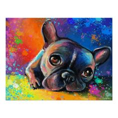 French bulldog dog portrait art framed print