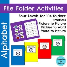 Alphabet File Folders: 104 activities to practice letter recognition and identification. There are four versions to match the skill level of each student in your class. Use these for independent work tasks, group lessons, and 1:1 instruction. While these were created for a special education class, the multiple levels and repetition make them ideal for pre-k, kindergarten and ELLs. {Created by Adapting for Autism}
